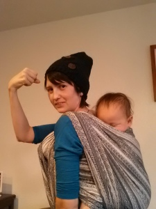 My baby asleep on my back - I feel empowered, I feel strong.
